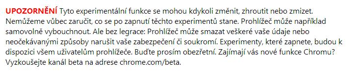 Textová hlavička z nastavení Chrome.