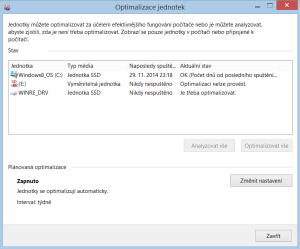 Optimalizace jednotek ve Windows 8.1
